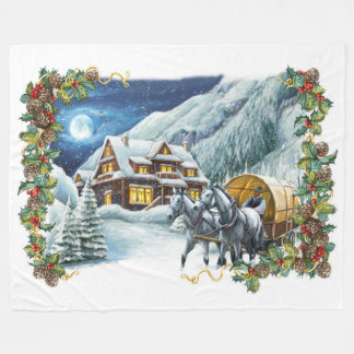 Christmas Winter Scene Large Fleece Blanket