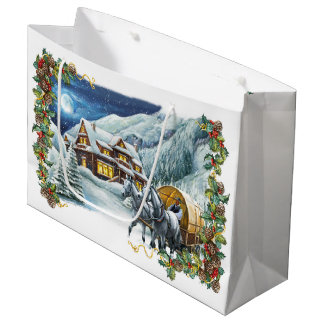 Christmas Winter Scene Large Gift Bag
