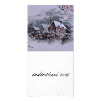 christmas winter scene silver photo card