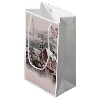 christmas winter scene small gift bag