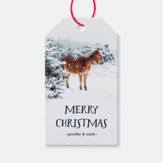Christmas Winter Scene with Horse in the Snow Gift Tags
