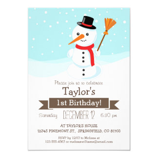 Christmas Winter Snowman, Kid's Birthday Party Card
