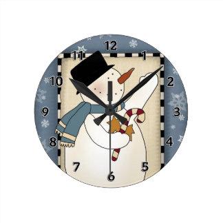 Christmas Winter Snowman Wishes Round Clock