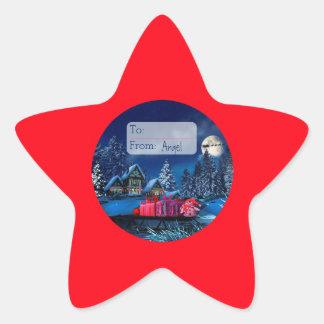 Christmas Winter Village Glossy Star Sticker