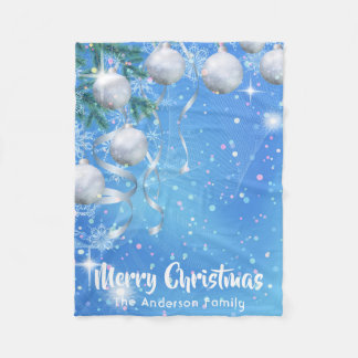Christmas winter with silver ornaments and stars fleece blanket