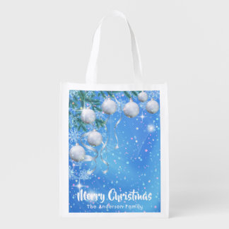 Christmas winter with silver ornaments and stars reusable grocery bag