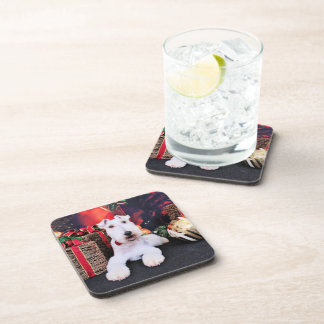 Christmas - Wire Fox Terrier - Dexter Drink Coaster
