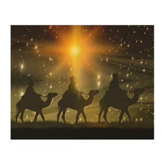 Christmas Wise Men Golden Star of Bethlehem Wood Wall Art