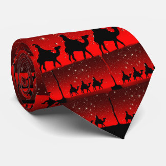 Christmas Wise Men Red Sky Star Lite Night Tie