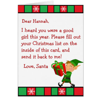 Christmas Wish Letter from Santa Claus (female) Card
