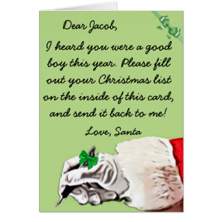 Christmas Wish Letter from Santa Claus (male) Card