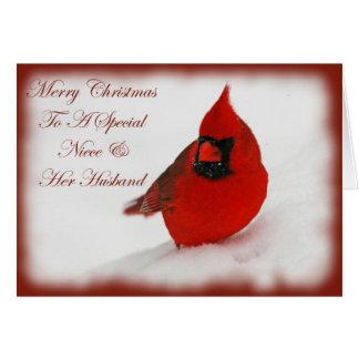 Christmas Wishes Cardinal Niece & Husband Card