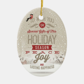 Christmas Wishes Ceramic Oval Ornament