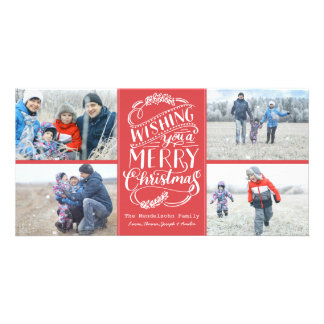 Christmas Wishes Collection 4 Photo Holiday Personalised Photo Card