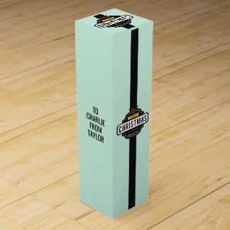 Christmas Wishes custom text wine gift box