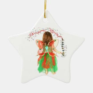 Christmas Wishes Faery Ceramic Star Decoration