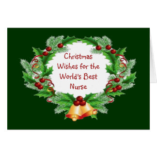 Christmas Wishes Holly Berry Wreath for Nurse Card