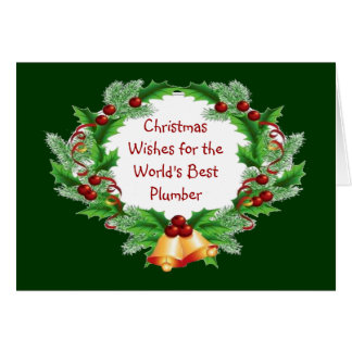 Christmas Wishes Holly Berry Wreath for Plumber Card