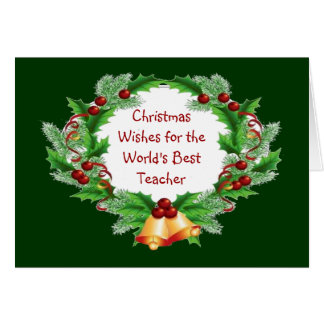 Christmas Wishes Holly Berry Wreath for Teacher Card