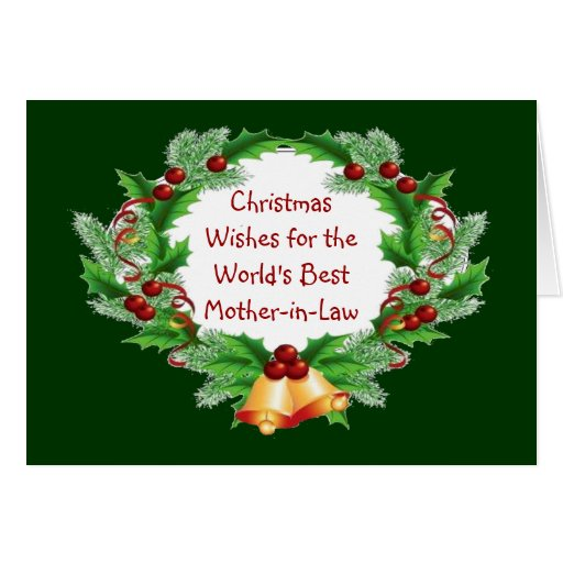 Christmas Wishes Holly Berry Wreath Mother-in-Law Cards