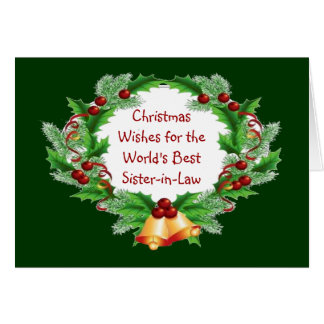 Christmas Wishes Holly Berry Wreath Sister-in-Law Card