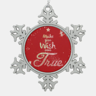 Christmas wishes pewter snowflake decoration