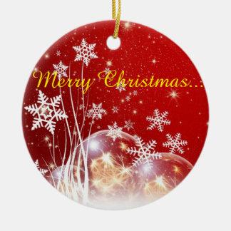 Christmas wishes round ceramic decoration