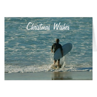 Christmas Wishes (Surfer heading out) Cards