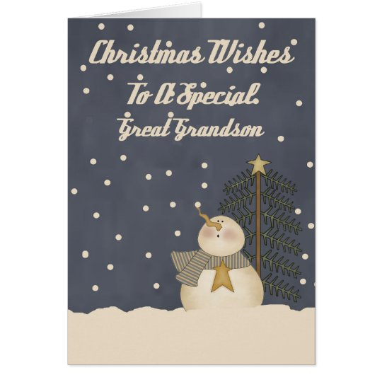 Christmas Wishes To A Special Great Grandson Card