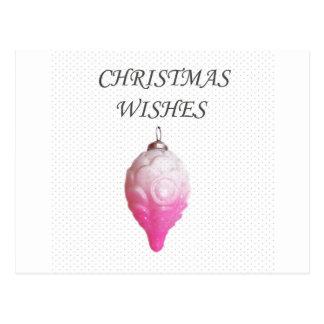 Christmas wishes vintage pink bauble design postcard