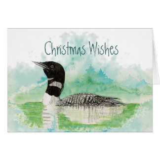 Christmas Wishes with Watercolor Loon Bird Greeting Card