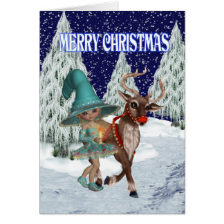 Christmas Witch and the Reindeer Card