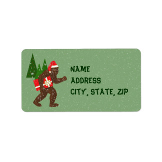 """Christmas with Bigfoot"" Address Label"