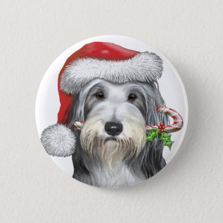 Christmas With Jazz The Bearded Collie 6 Cm Round Badge