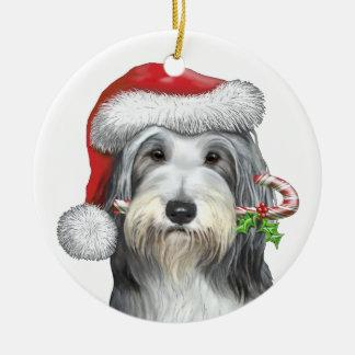 Christmas With Jazz The Bearded Collie Round Ceramic Decoration