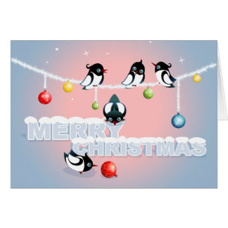 Christmas with Magpies and Bubbles 2 Greeting Card