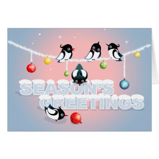 Christmas with Magpies and Bubbles Greeting Card