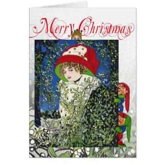 Christmas with mistletoe and elves card