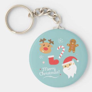 Christmas with Santa, Reindeer, Gingerbread Man Basic Round Button Key Ring