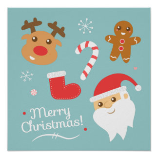 Christmas with Santa, Reindeer, Gingerbread Man Poster