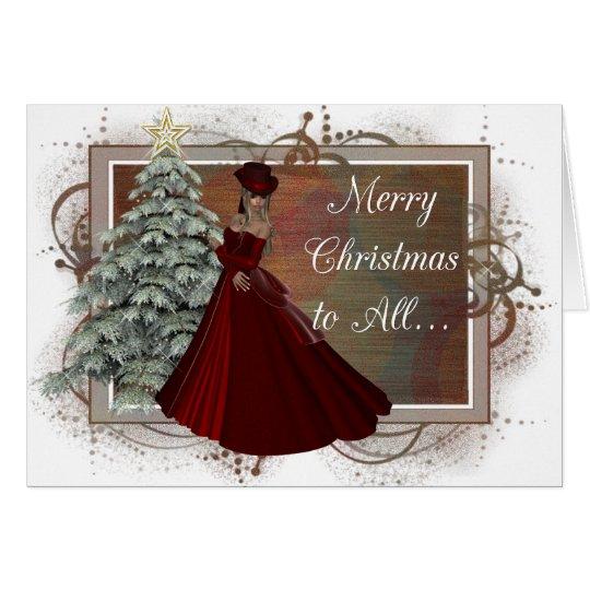 Christmas Woman (Red Dress Design) Greeting Card