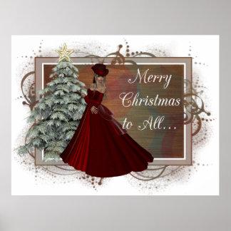 Christmas Woman (Red Dress Design) Print