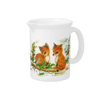 Christmas Woods Babies Fox & Bunny Pitcher