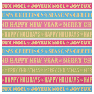 christmas words on colorful lines fabric