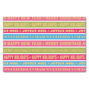 christmas words on colorful lines tissue paper