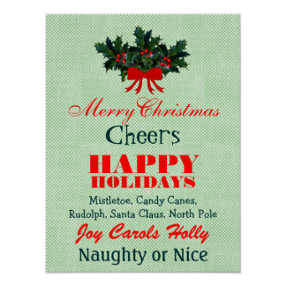 Christmas Words Sayings Quotes in Red Green Custom Poster