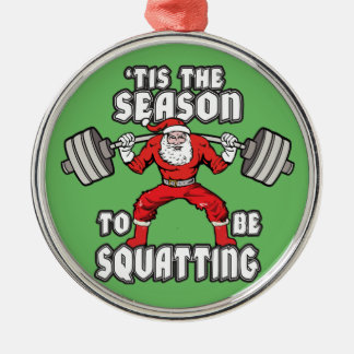 Christmas Workout Humor - Santa Claus Squat Christmas Ornament