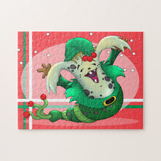 CHRISTMAS WORM PET ALIEN CARTOON PUZZLE 11 X 14