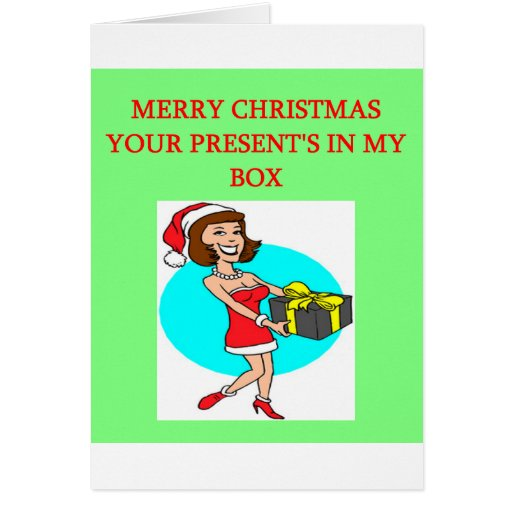 christmas wrapped present in the box joke cards
