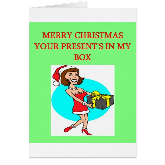 christmas wrapped present in the box joke card